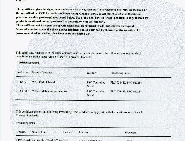 FSC Certificate of AKRITAS page 2